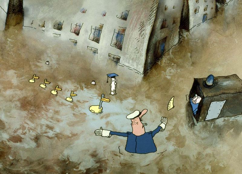 Water PeopleDucks Policeman © Paul Driessen / Nico Crama Films / Netherlands Institute for Animation Film